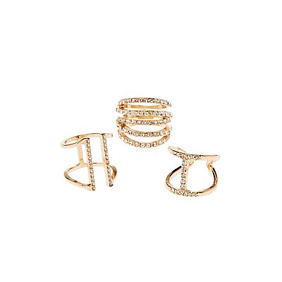 Crystal Stackable Rings - 3 Pack