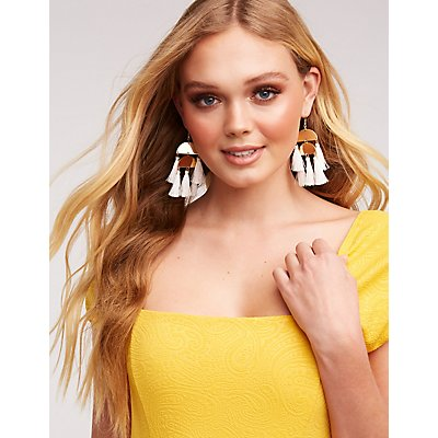 Tassel Disc Drop Earrings