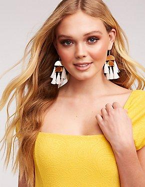 Tassel Disc Drop Earrings
