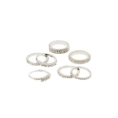 Crystal Stacking Rings - 7 Pack