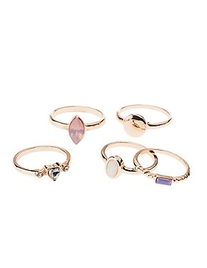Princess Stone Rings - 5 Pack