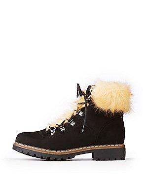 Faux Fur Trim Combat Boots