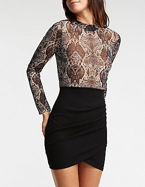Faux Snakeskin Mesh Bodycon Dress