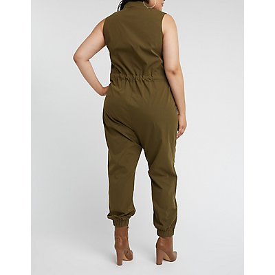 Plus Size Zip Front Jumpsuit