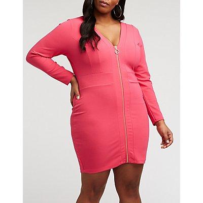 Plus Size Zip Front Bodycon Dress