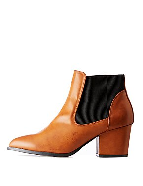 Bamboo Faux Leather Chelsea Booties