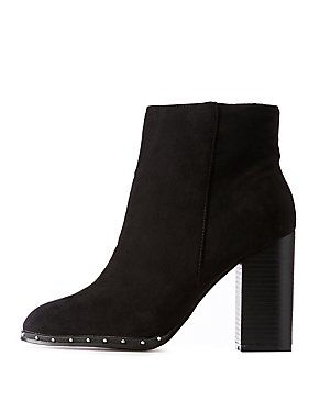 Bamboo Studded Faux Suede Bootie