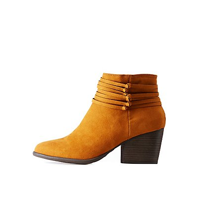 Bamboo Faux Suede Wrap Detail Booties