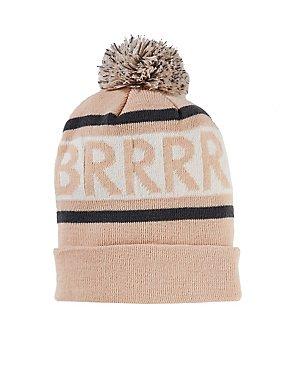 Brrr Graphic Pom Beanie