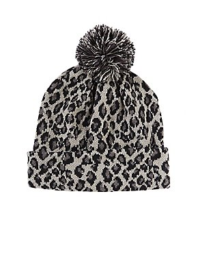 Leopard Pattern Pom Beanie