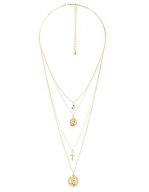 Cross & Pendant Layered Necklace