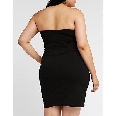 Plus Size Ruched Wrap Mini Dress