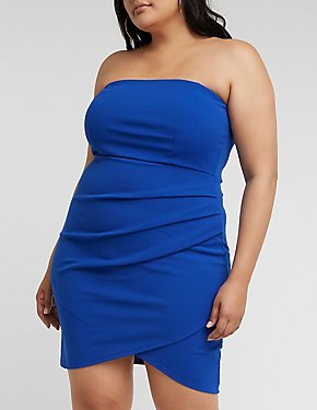 Plus Size Ruched Wrap Mini Dress