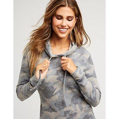 Camo Hooded Sweatshirt Dress