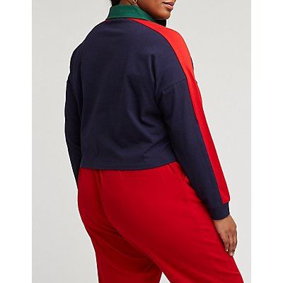 Plus Size Retro Color Block Polo Shirt