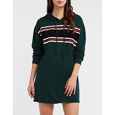 Sporty Striped Sweatshirt Dress