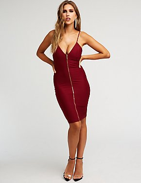 Zip Front Deep V Bodycon Dress