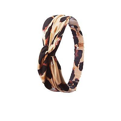 Leopard Print Satin Knot Headband