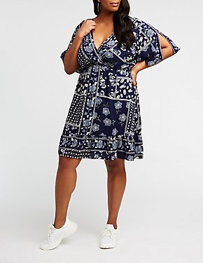 Plus Size Floral Wrap Mini Dress
