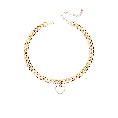 Heart Charm Curb Chain Necklace