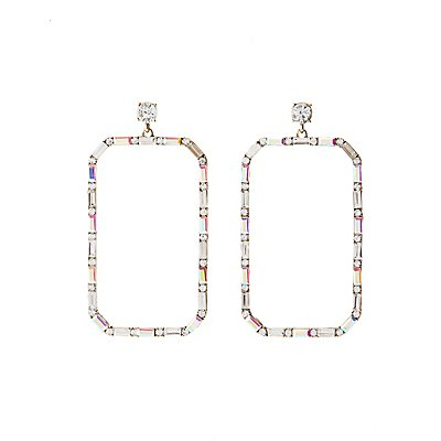 Crystal Sqaure Hoop Earrings