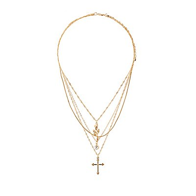 Rose & Cross Layered Necklace