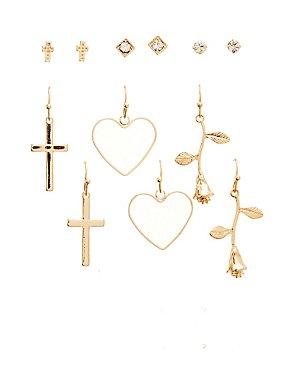 Rose & Cross Earrings - 6 Pack