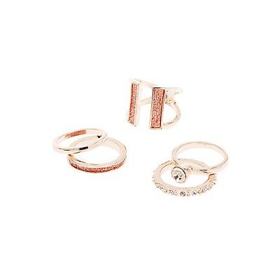 Crystal Stackable Rings - 5 Pack