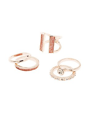 Crystal Stackable Rings - 5 Pack