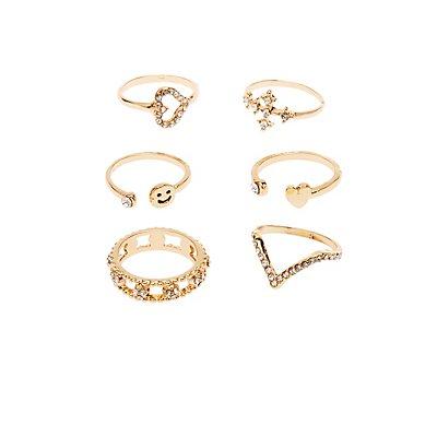 Crystal Stackable Rings - 6 Pack