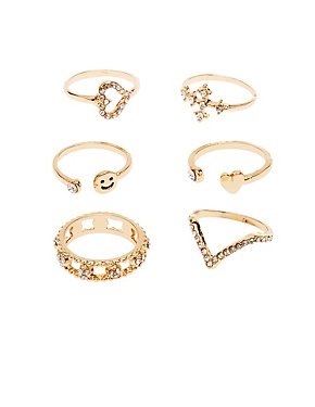 Crystal Stackable Rings - 6 Pack