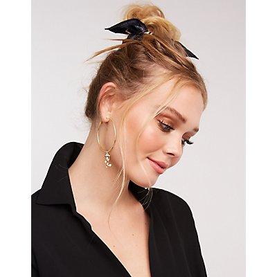 Rose Pendant Hoop Earrings
