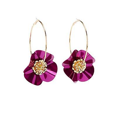 Floral Crystal Hoop Earrings