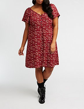 Plus Size Printed Button Up Dress