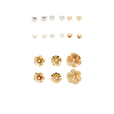 Stud & Hoop Earrings - 9 Pack