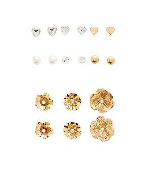 Flower & Crystal Stud Earrings