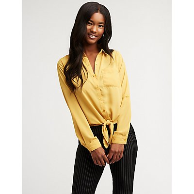Button Up Tie Front Top