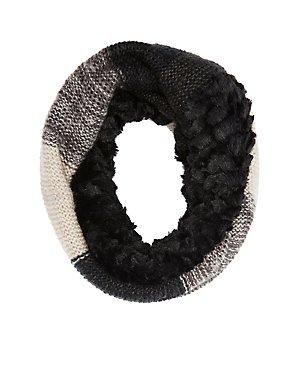 Faux Fur & Striped Infinity Scarf
