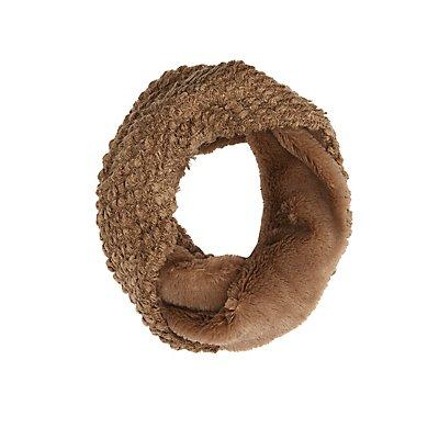 Faux Fur & Waffle Knit Infinity Scarf