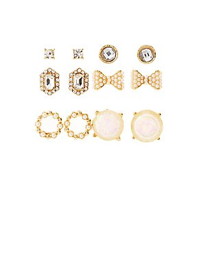 Assorted Stud Earrings - 6 Pack