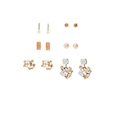 Crystal Stud Earrings - 6 Pack