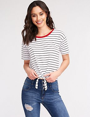 Striped Tie Waist Tee