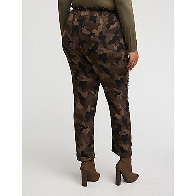 Plus Size Camo Paperbag Trousers