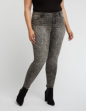 Plus Size Refuge Cheetah Skinny Jeans