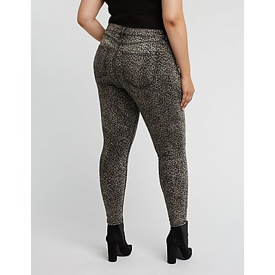 Plus Size Refuge Cheetah Skinny Jeans