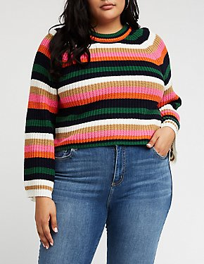 Plus Size Striped Crop Sweater