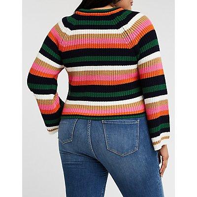 Plus Size Striped Crop Sweater