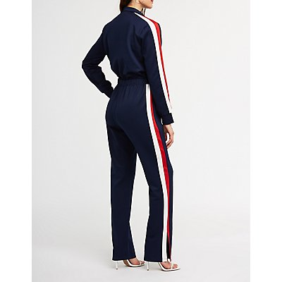 Sporty Striped Zip Up Jumpsuit