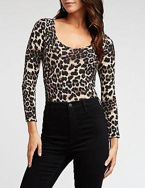 Leopard Print Square Neck Bodysuit