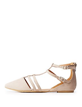 Qupid Strappy Pointed Toe Flats